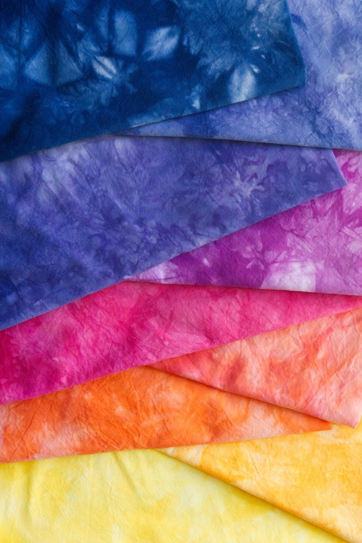 Sunset color gradient of hand dyed fabric