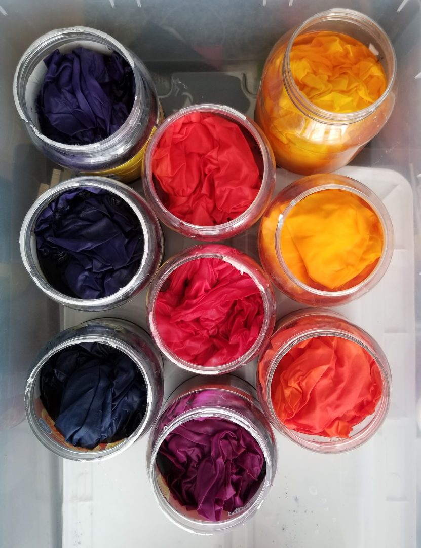 Yellow, orange, purple, and blue gradient dyeing fabric